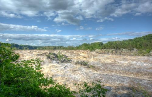 river nationalpark flood greatfalls rapids potomac hdr