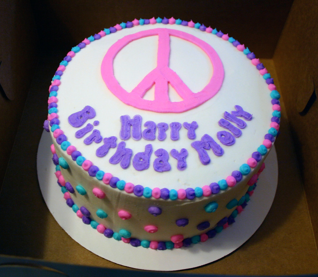 Admirable Peace Birthday Cake Vanilla Cake With Peace Sign And Polka Personalised Birthday Cards Cominlily Jamesorg