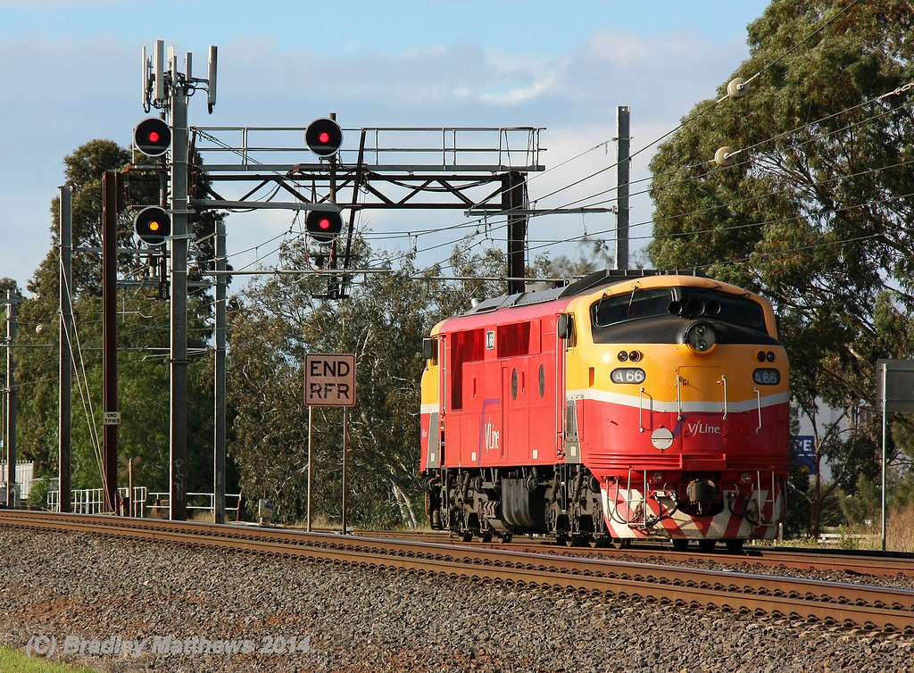A66 wth an up ICE testing train, ex Maryborough/Ballarat trailing shot at Werribee (17/7/2014) by Bradley Matthews