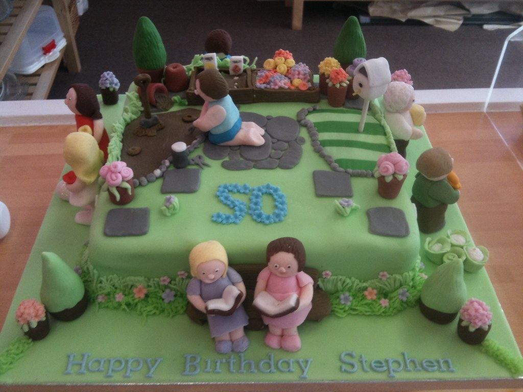Amazing Garden Party 50Th Birthday Cake Check Out Our Website Ww Flickr Birthday Cards Printable Opercafe Filternl