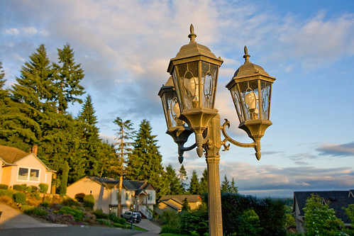 sunset neighborhood lamps