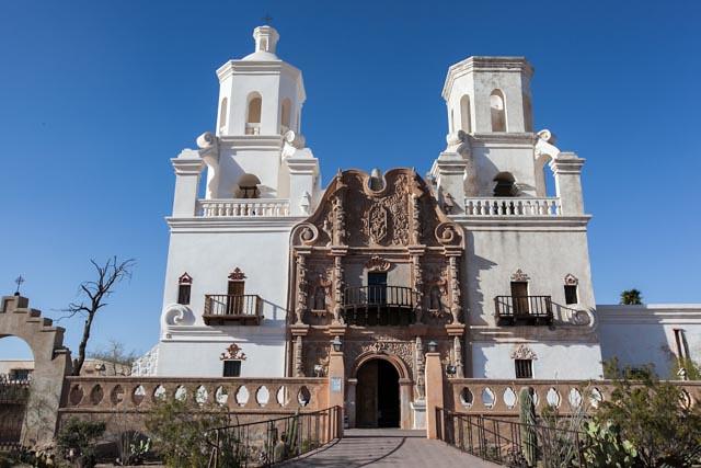 Impressive facade of Mission San Xavier del Bac