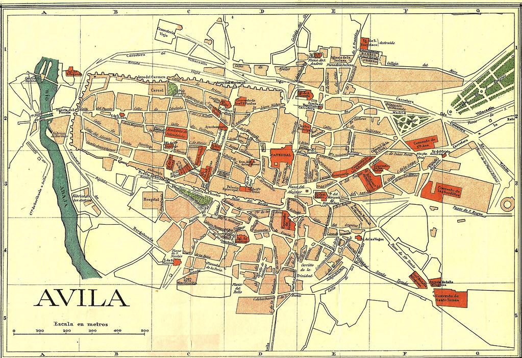 Mapa Turistico De Avila.Avila Plano H 1932 Mapa Cartografico Por Benito Chias