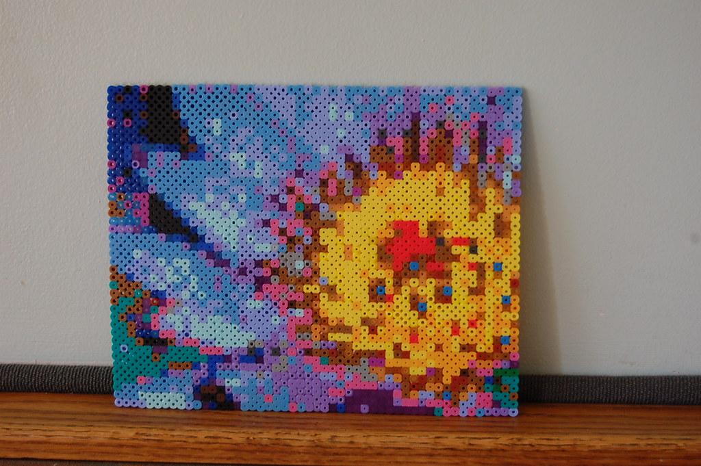 flower perler bead art #1 | perler mosaic art size 50 x 40