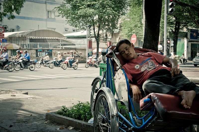 Trishaw Driver is Having a Catnap, Vietnam