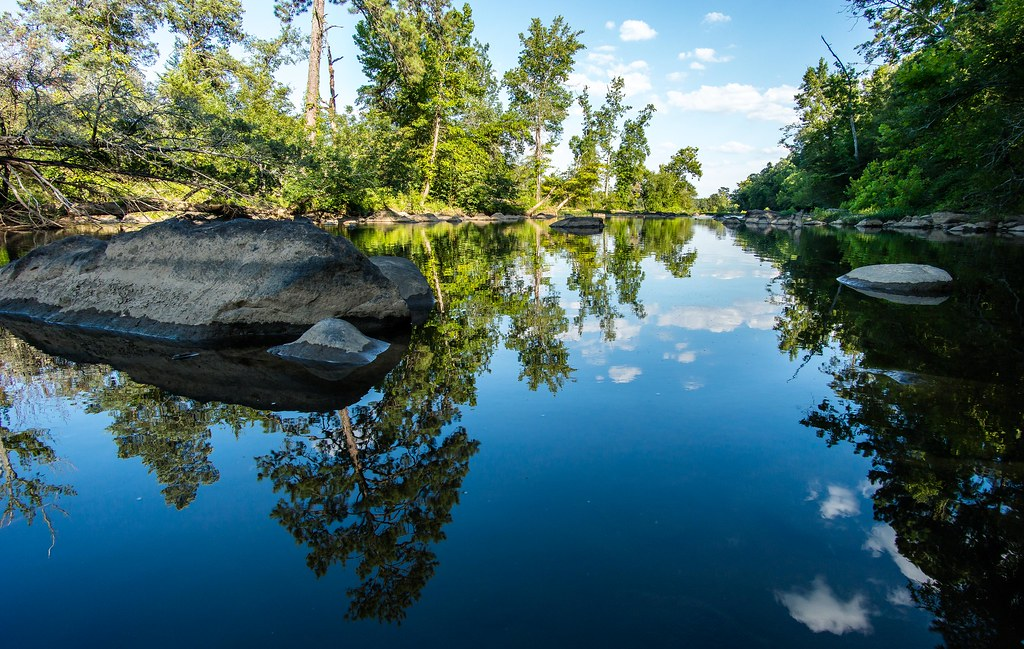 Blue sky reflected in the Haw River