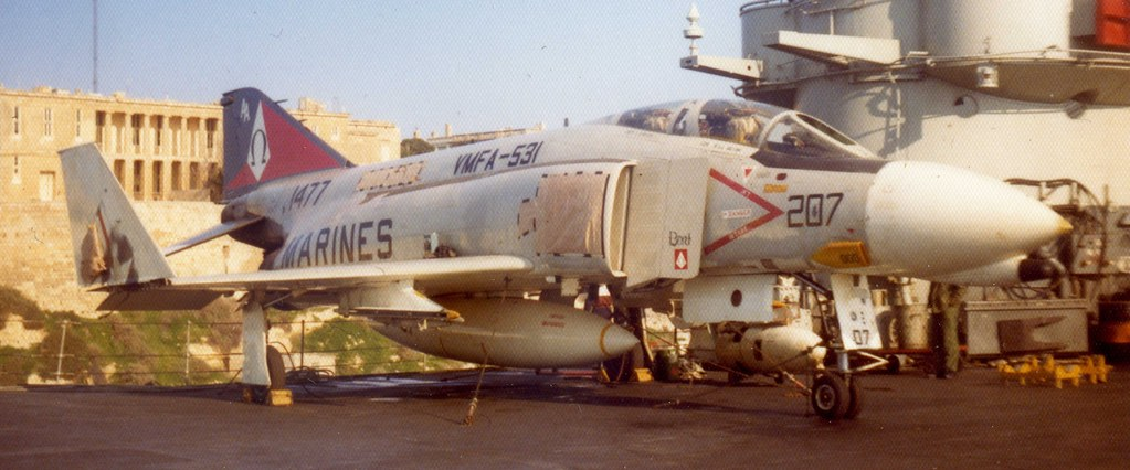 HMS Ark Royal (R09) USN McDonnell F-4N Phantom II 1477 from USS Forrestal (CV59) on Deck Malta Grand Harbour 1973