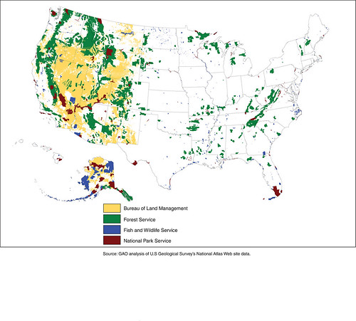 Figure 1: Federal Lands Managed by the Forest Service, Bureau of Land Management, Fish and Wildlife Service, and National Park Service   by U.S. GAO