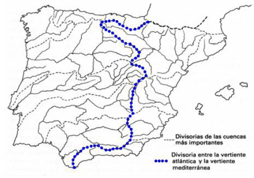 Vertientes Mapa Hidrografico De España.Mapa De Las Principales Cuencas Hidrograficas De La Penins