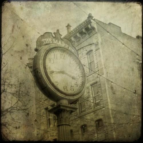 winter urban building clock canon vintage square lights afternoon grunge streetscene denver co aged ttv fauxttv texturesquared t1i larimiersquare