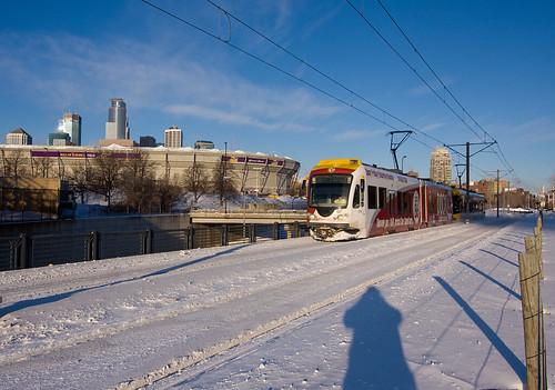 Collapsed Metrodome & Hiawatha Light Rail; Minneapolis, MN   by Ottergoose