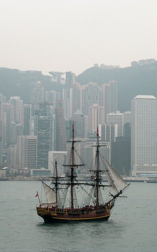 Old Ship in Front of Modern City | by everlutionary