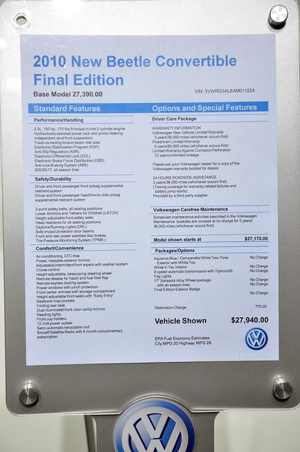 final edition Beetle sticker price