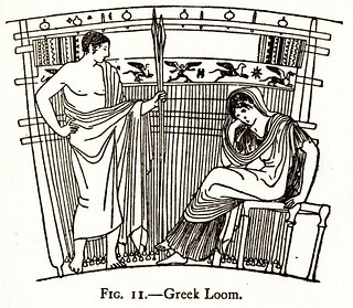 Drawing after a Greek vase of the Oddesey: Telemachus and Penelope with her loom