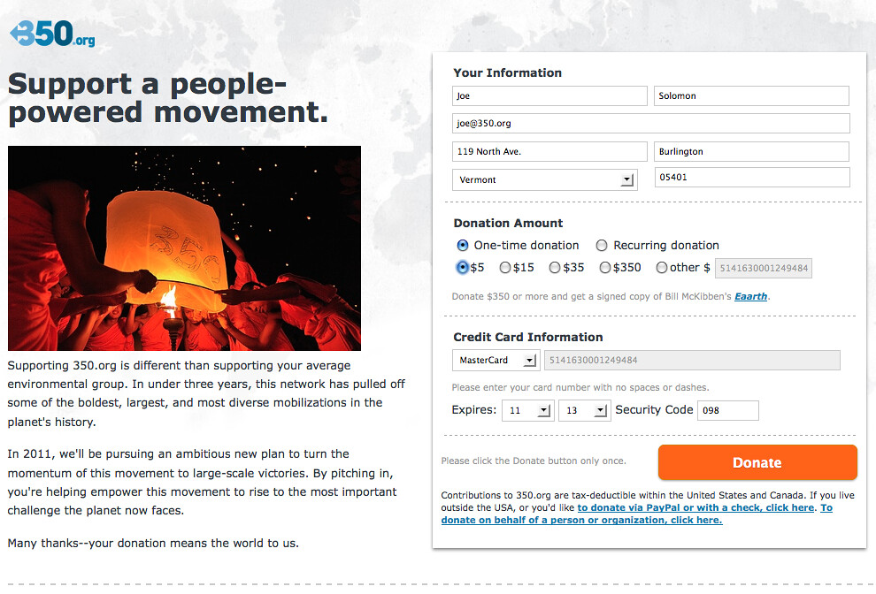 350.org's 1st Grassroots Fundraising Campaign - Screenshot