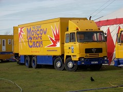 quicksilver coaches posted a photo:	F638 TJF1989 Foden 4300Moscow State CircusCampbell Park, Milton Keynes, 14 March 2008The Moscow State Circus first came to the UK in the early 1990s and spawned several copycat 'Russian' circuses, most of which have come and gone but the original is still going strong. This eight-wheel Foden had less than a year left to run, its last tax being cashed in in February 2009.