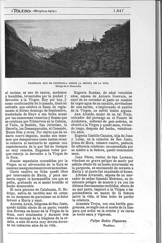 Reportaje sobre la Ermita de la Virgen de la Guía publicado en febrero de 1928 en la Revista Toledo
