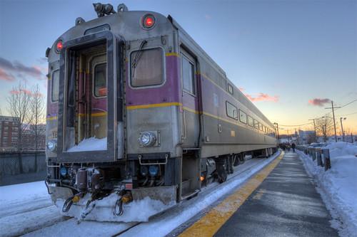 sunset snow train commuterrail waltham moodystreet