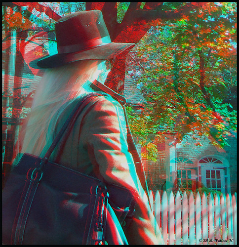 woman beautiful hat lady female walking stereoscopic 3d md pretty adult gorgeous brian longhair maryland anaglyph stereo linda attractive wallace easton stereoscopy stereographic brianwallace stereoimage stereopicture