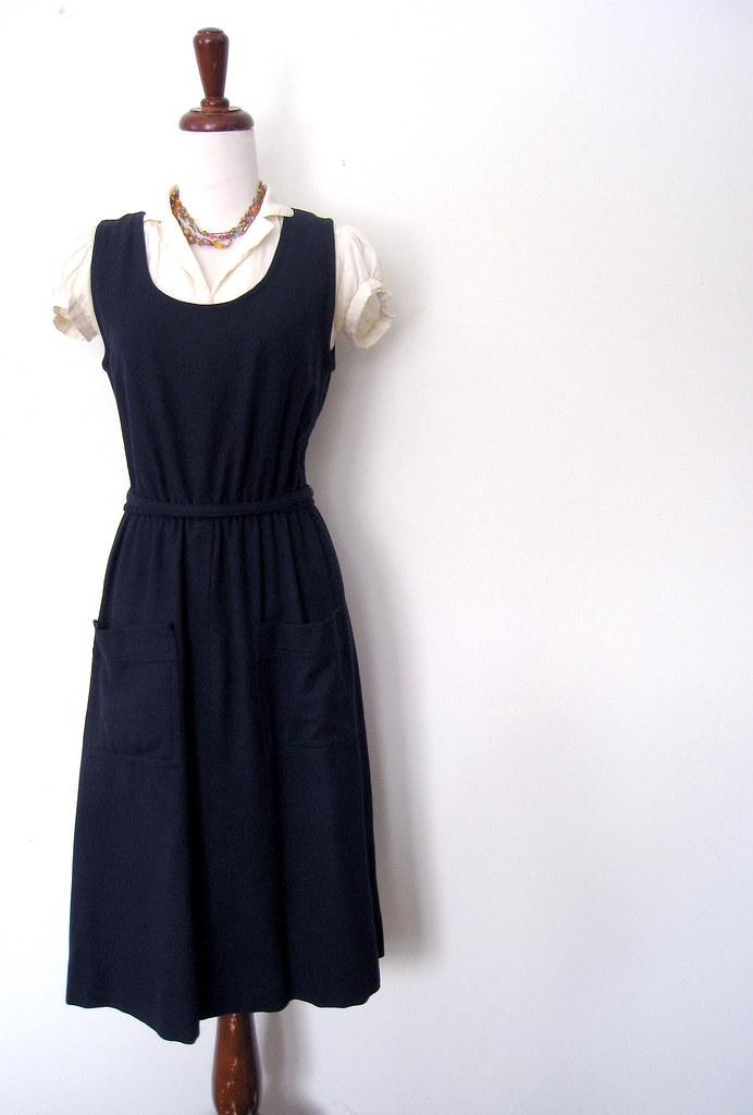 c6e9ab54554 ... Navy Blue Pocketed Jumper Dress