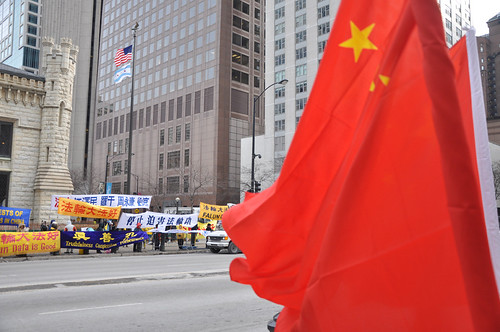 """The other side of the street to show """"Welcome Chinese President Hu""""   by zhongguophoto"""