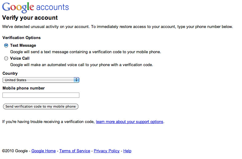 Google - Verify your account | www google com/support/accoun