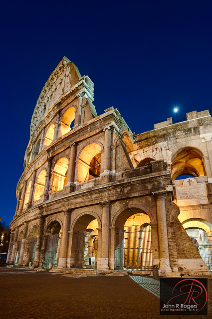 Roman Colosseum at 'purple hour', Rome Italy