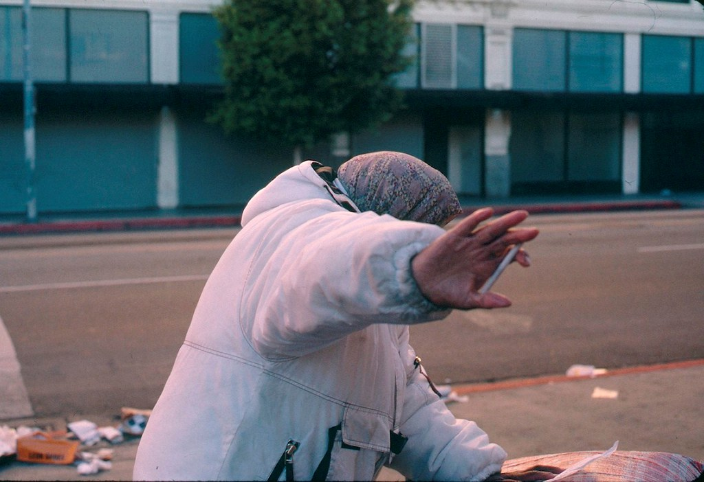 Hostile homeless woman: Los Angeles downtown skid row in December 2010