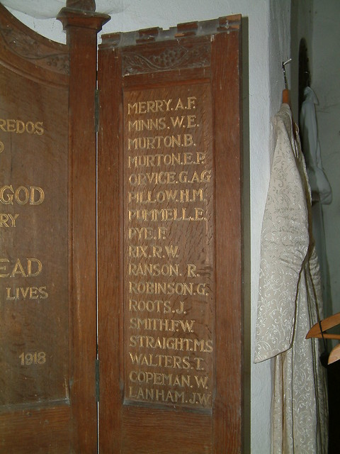 St Laurence Great War Roll of Honour - Right Hand Panel