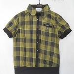 1228025(-仿丝印格子短袖上衣 2 4 6 橙色-浅黄色-蓝色 胸96 长56 (1)