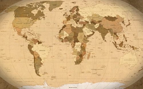 World Map Parchment wallpaper (1920x1200) - outdated, 2006 map | by GuySie
