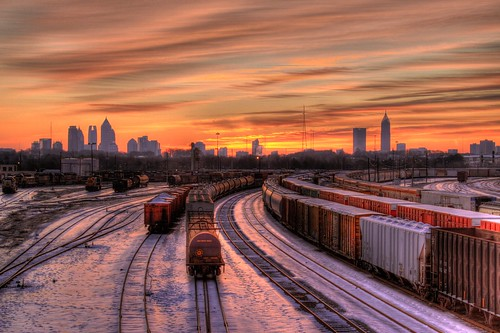 atlanta orange usa snow reflection skyline america train sunrise canon ga georgia aj downtown cityscape january tracks freezing cargo midtown chilly marietta hdr freight subzero csx brustein 2011 tilford snowpocalypse 50d snowmageddon