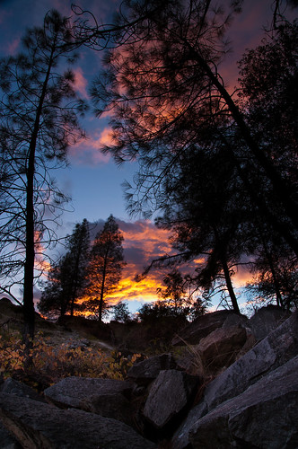ca sunset landscape us rocks pines bluehour redding crooked clearcreek blendedbracket