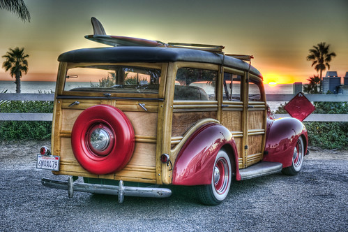 hdr beginer beach sunset cars woody hotrods horror
