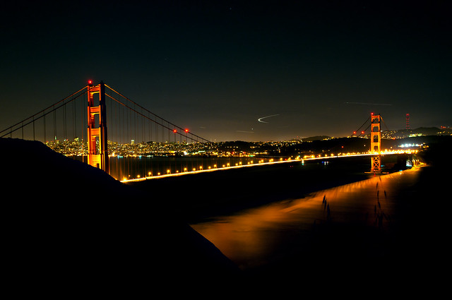 Beautiful night view over Golden Gate Brige