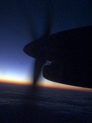 plane sunrise propeller