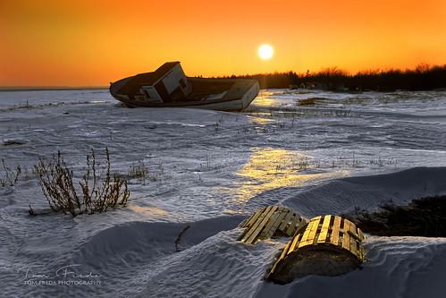 capeislandboat fishingboat lobstertrap tatamagouche novascotia canada sunset winter sun snow kodachrome kodachrome25 km25 nikonf3 nikkor24mmf28 24mmf28ais nikkor novascotiaslideshow
