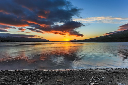 sunset sea summer sky cloud lake night clouds canon landscape coast photo iceland ngc picture mirrors shore ísland eyjafjordur midnightsun nationalgeographic akureyri einarschioth