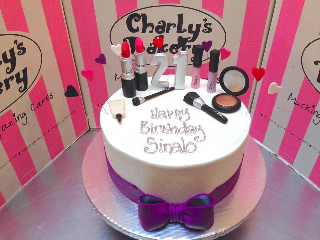 Brilliant Single Tier Mac Make Up Themed 21St Birthday Cake Iced In Flickr Birthday Cards Printable Giouspongecafe Filternl