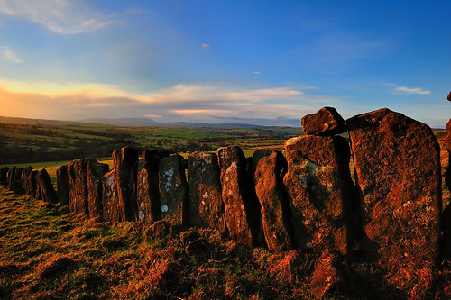 vaccary wall walling sunset golden pendlehill pendle wycoller landscape lancashire blue sky whale back dry stone decaying decay gap crumbling grass wycollar grassland field fields meadow moor moorland farmland countryside imagestwiston sunlit afternoon clouds whaleback forestofbowland aonb profile unmistakeable hill fell mountain ultrawide ultra wideangle wide angle dusk goldenlight goldenhour laneshawbridge