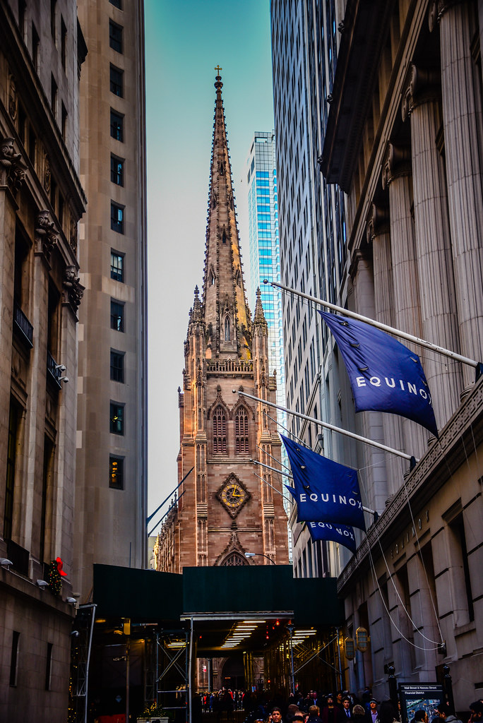 Trinity Church From Wall Street - New York City NY
