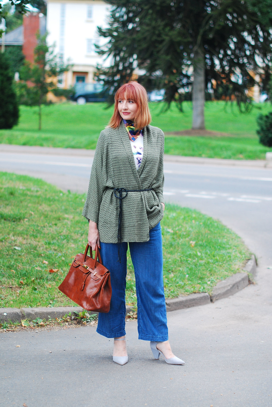 How to style cropped wide leg jeans for autumn (fall) - olive cardigan - Birkin-style bag - coloured neck scarf | Not Dressed As Lamb, style over 40