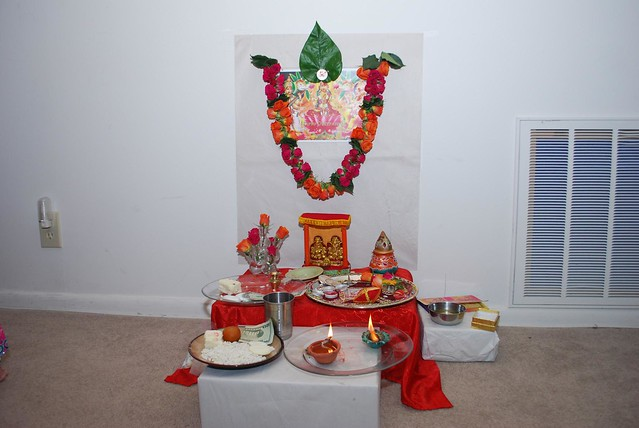 Happy Diwali: A traditional setup for puja