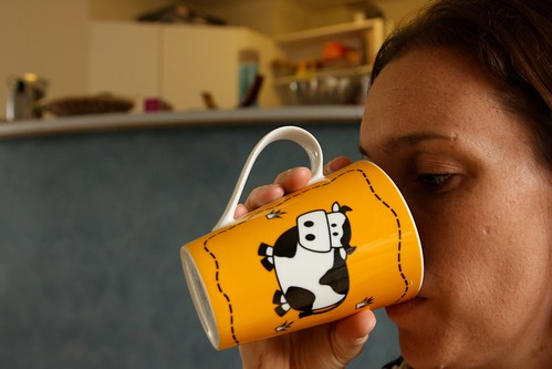 Morning coffee is the best... particularly in my moo moo mug (that I stole from my husband!) - (19/365).