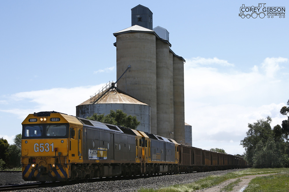 G531 & G530 with a loaded Minerals Sands rolls through Beulah by Corey Gibson