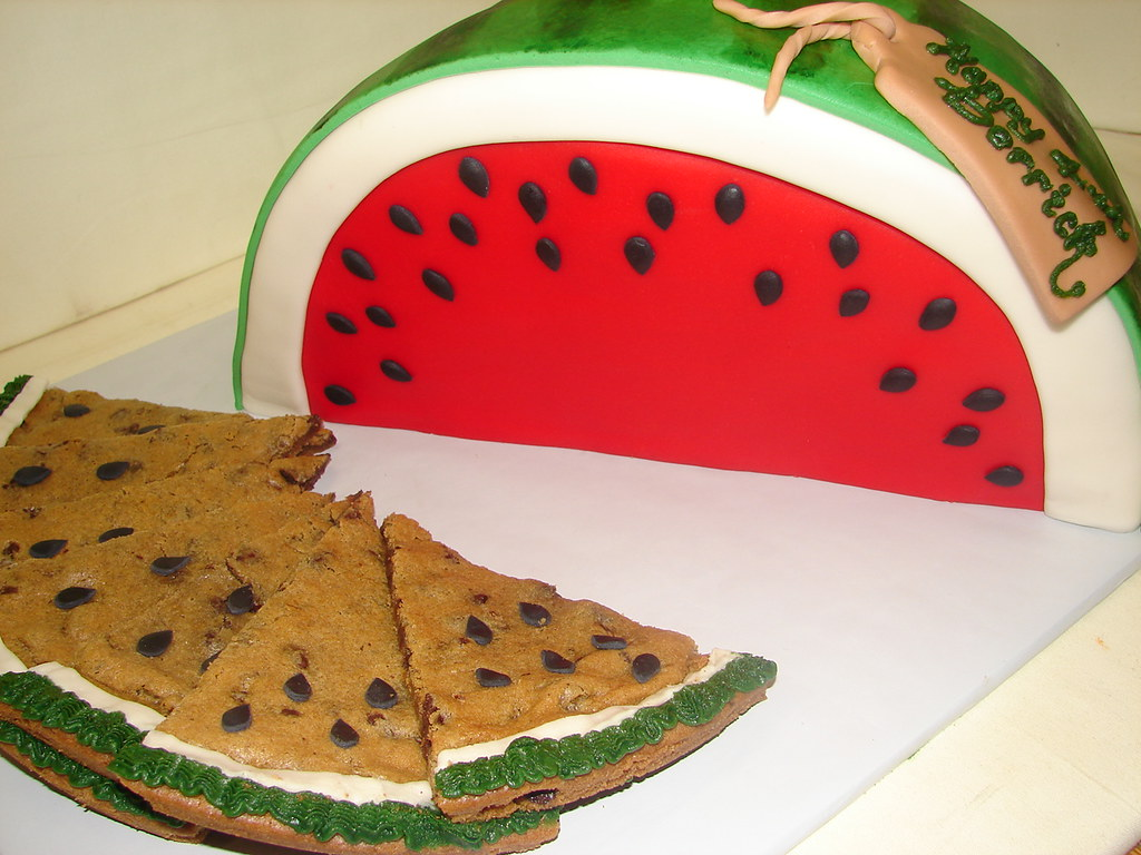 Magnificent Watermelon Birthday Cake With Sweet Slices Of Cookie Cake Flickr Funny Birthday Cards Online Inifofree Goldxyz