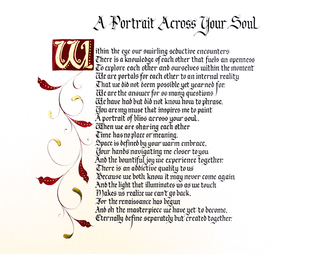 Calligraphy poem romantic anniversary design in blackletter with swirly border red and gold leaf