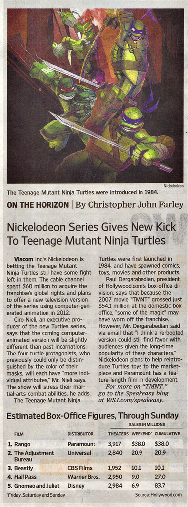 "The Wall Street Journal :: Monday, March 7,2011 - Media  - ""Nickelodeon Series Gives New Kick To Teenage Mutant Ninja Turtles // article (( 2011 )) by tOkKa"