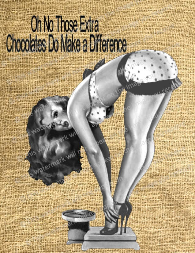 7003a5df0 ... Vintage Pin Up Girl Chocolate Scale Text Funny Collage Sheet 3 Digital  Image Downloads Transfers Art