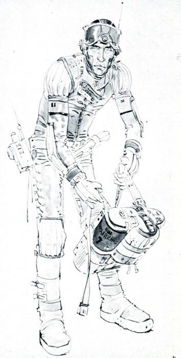 Astronaut spacesuit concept art for Ridley Scott's Alien